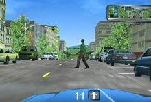 Picture of challenge 3 - Pedestrian on the right steps into traffic lane as driver approaches.