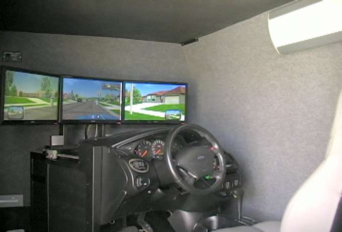 View of the simulator inside the van.