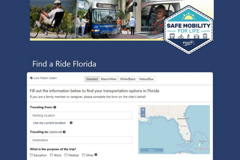 Find a Ride Florida web page